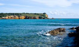 Rocky headland off Puerto Rico stock photo