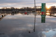 Rocky Hill, CT - December 23 2018 - Ferry Park Landing Flooded royalty free stock photography