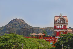Rocky Hill and Eureka Building in Ramoji Film City. Showcasing man made structure together with nature Royalty Free Stock Photography