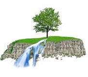 Rocky hill green tree and waterfall Stock Image