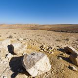 Stone Desert in Israel. Rocky hills of the Negev Desert in Israel. Breathtaking landscape of the desert rock formations in the Southern Israel Desert Royalty Free Stock Photography