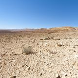 Stone Desert in Israel. Rocky hills of the Negev Desert in Israel. Breathtaking landscape of the desert rock formations in the Southern Israel Desert Royalty Free Stock Photo