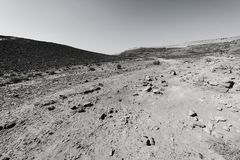 Nature of the Middle East. Rocky hills of the Negev Desert in Israel. Breathtaking landscape and nature of the Middle East. Black and white photo stock photo