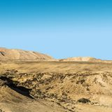 Negev Desert in Israel. Rocky hills of the Negev Desert in Israel. Breathtaking landscape of the rock formations in the Southern Israel. Dusty mountains Stock Photo