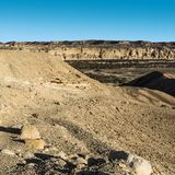 Negev Desert in Israel. Rocky hills of the Negev Desert in Israel. Breathtaking landscape of the rock formations in the Southern Israel. Dusty mountains Royalty Free Stock Photo