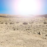 Desert in Israel at sunrise. Rocky hills of the Negev Desert in Israel at sunrise. Breathtaking landscape of the desert rock formations in the Southern Israel Stock Images