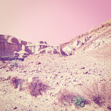 Rocky Hills. Of the Negev Desert in Israel, Sunset, Instagram Effect Stock Image