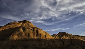 Rocky hills enlightened by the sunset in Monument Valley stock photos