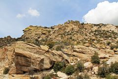 Rocky Hillside Along the Road Going Up Mt. Lemmon Royalty Free Stock Photo