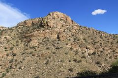 Rocky Hillside Along the Road Going Up Mt. Lemmon Royalty Free Stock Images