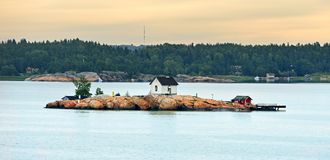 Rocky island in archipelago of Turku, Finland. Dawn Stock Images