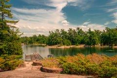 Rocky island on Georgian Bay in Ontario royalty free stock photography