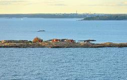 Rocky island in Helsinki archipelago on sunset. Rocky islands in Helsinki archipelago on sunset, Finland Royalty Free Stock Photos