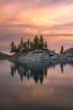 Rocky Island With Pine Trees On The Mountain Lake At Sunset, Altai Mountains Highland Nature Autumn Landscape Photo. Beautiful Russian Wilderness Scenery Image Royalty Free Stock Photography