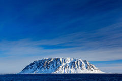 Rocky island with snow. White snowy mountain, blue glacier Svalbard, Norway. Ice in ocean. Iceberg twilight, ocean. Pink clouds wi Stock Photos
