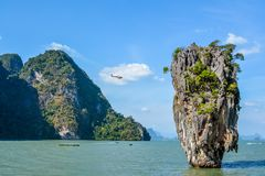 The rocky island is surrounded by the sea in southern Thailand. royalty free stock image
