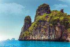 Rocky island. Rocky tropical island in a blue clear sea. Thailand Stock Image