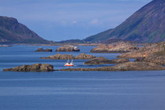 Rocky islands in fjord royalty free stock photography