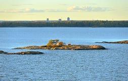 Rocky islands in Helsinki archipelago on sunset. Finland Stock Images