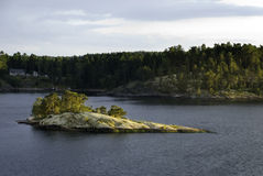 Rocky Islet. Small Islet with some Forest at it - Baltic Sea, Western Sweden Royalty Free Stock Image