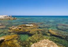 Rocky Kalithea Beach on Rhodes Royalty Free Stock Photo