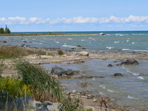 Rocky Lake Huron Beach. This is the north rocky shoreline of Lake Huron, Michigan near Rogers City. The water levels were very low Royalty Free Stock Image