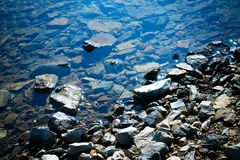 Rocky lake shore water reflection. royalty free stock photography