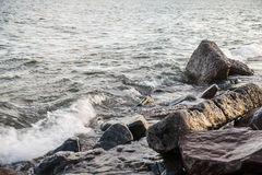 Rocky lake shore. Waves hitting the rocky shore of Lake Superior Royalty Free Stock Photography