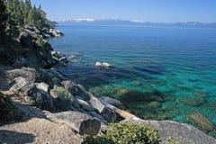 rocky lakeshore tahoe obrazy stock