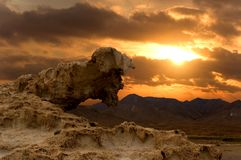 Rocky landscape. Geological stone with a sunset background Royalty Free Stock Photos