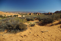 Rocky landscape_2. Wide view of rock formations,  Arches National park, Utah USA Royalty Free Stock Image