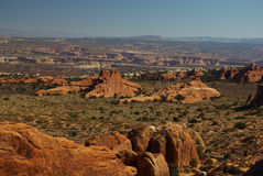 Rocky landscape. Wide view of rock formations,  Arches National park, Utah USA Royalty Free Stock Images