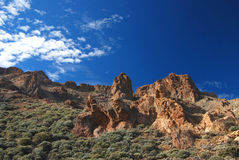 Rocky landscape around Mount Teide the volcano on Tenerife Royalty Free Stock Image