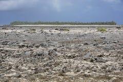Rocky landscape atoll rim Tikehau French Polynesia Stock Photos