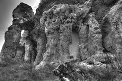 Rocky landscape in black and white Stock Image