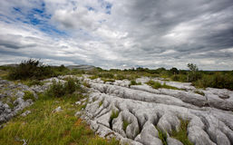Rocky landscape of The Burren in County Clare, Ireland. Rocky landscape of the Limestone Pavement Mountains in The Burren in County Clare, Ireland Stock Photo