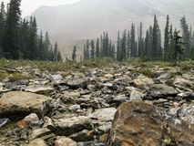 Rocky landscape high in the Canadian Rockies on a misty and smok stock images