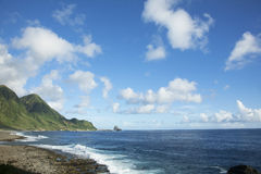 The rocky landscape in Lanyu. Royalty Free Stock Photo