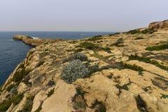 Rocky landscape, mediterranean sea Malta. Dwajra Bay, on the coast of Gozo, Malta Stock Photos