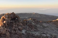 Rocky landscape Mount Teide summit National Park Tenerife royalty free stock photos