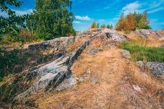 Rocky Landscape Near Helsinki, naturaleza de Finlandia Foto de archivo