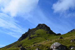Rocky Landscape at the Old Man of Storr. Beautiful highland landscape with rocks at Old Man of Storr Stock Image