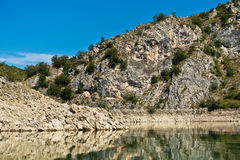 Rocky landscape of river Uvac gorge at sunny summer morning Royalty Free Stock Image
