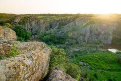 Rocky landscape on sunset with soft light