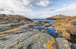 Rocky landscape on Swedish island. Landscape from the island Oja in the Baltic sea Stock Images
