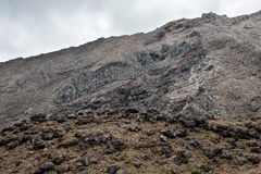 Rocky landscape in Tongariro National park near Whakapapa village and ski resort in summer Royalty Free Stock Photos
