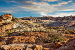 Rocky landscape in Valley of Fire with cloudy sunset Royalty Free Stock Image