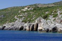 Rocky landscape in Zakynthos Island, landmark attraction in Greece. Ionian Sea. Seascape Stock Photo