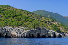 Rocky landscape in Zakynthos Island, landmark attraction in Greece. Ionian Sea. Seascape Royalty Free Stock Photography