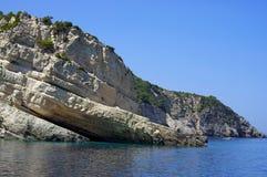 Rocky landscape - Zakynthos Island, landmark attraction in Greece. Ionian Sea. Seascape Royalty Free Stock Photos